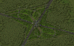 A large RHW interchange made with version 4.0 with a tunnel.